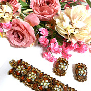 Humongous Vintage Juliana Topaz 5 Link Bracelet and Earrings