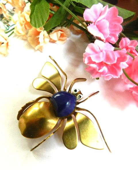 Vintage Austrian Lapis Colored  Big Flying Bug Brass Brooch