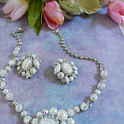 Gorgeous Givre White Vintage Regency Necklace Bracelet Earrings