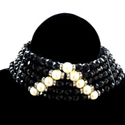 Elegant Jet Black Faceted  Crystal Collar Vintage Necklace with Faux Pearls