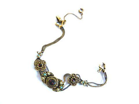 Vintage Slide charm Bracelet Designer C.50's Faux Pearls
