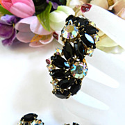 vintage Juliana Huge Clamper Rhinestone Bracelet Black with Aurora Borealis.