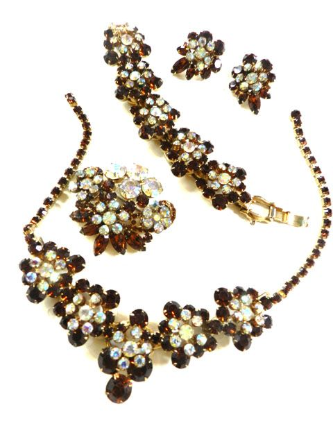 Vintage Juliana Huge Topaz Bracelet earrings Necklace Brooch