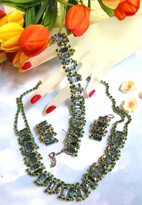 Return to Elegance Encrusted sapphire Blue Rhinestone Vintage Necklace Bracelet earrings