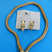 Coro Francois Vintage Coiled Snake/Serpent Slide Necklace and earrings