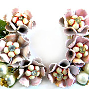 Pretty in Pink Vintage Earrings Faux pearls