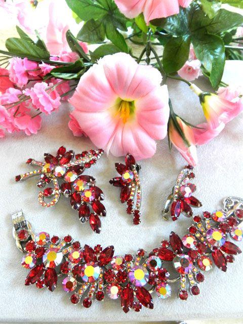 Heart Throbbing Juliana Huge 5 Link Red Rhinestone Bracelet earrings Brooch