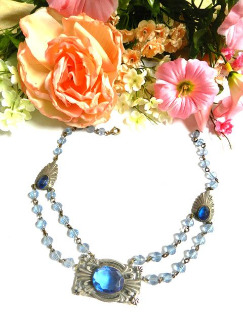 Gorgeous Czech Early 1900's Sapphire Glass Necklace