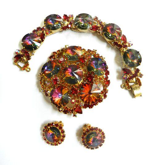 Gorgeous Juliana Rivoli Vintage Brooch earrings Bracelet