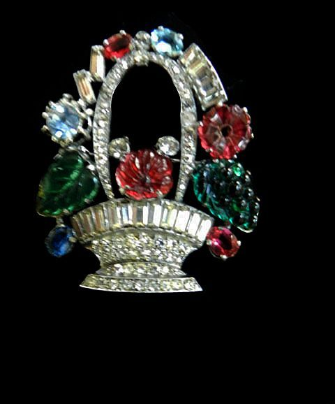 1940's Czech Fruit Basket Art Glass Stones Brooch