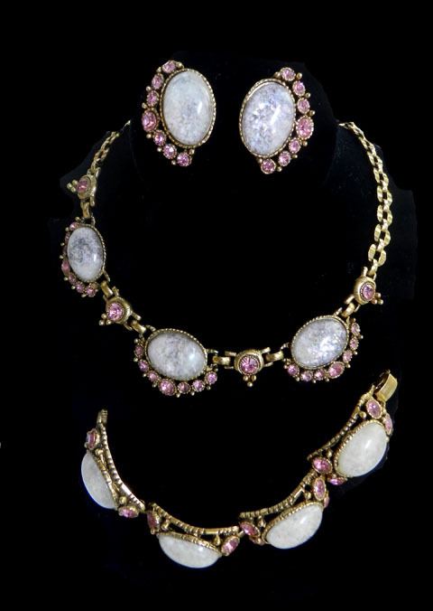 Fabulous Vintage Moonstone and Rhinestone Huge Necklace Bracelet and Earrings Designer