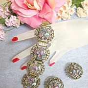Judy Lee Art Glass Pastels Rhinestone Vintage Bracelet and Earrings