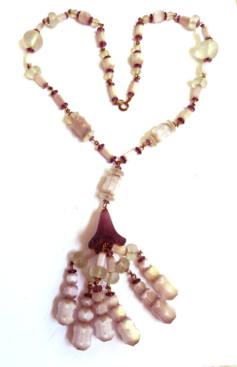 Fabulous Early 1900's Drippy Czech Crystal Flapper Necklace