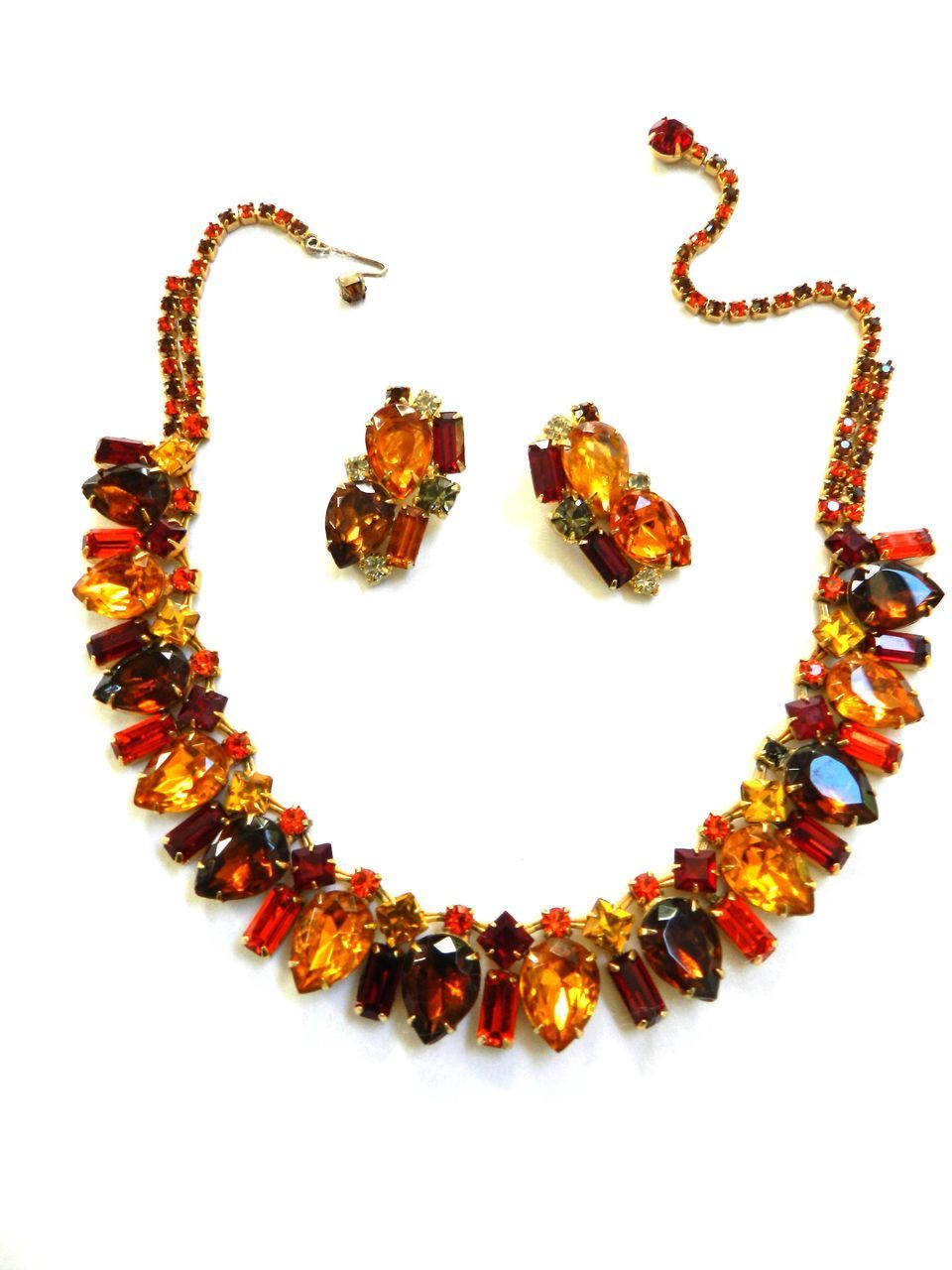Autumn Colors Big Bold Vintage Necklace and Earring Demi