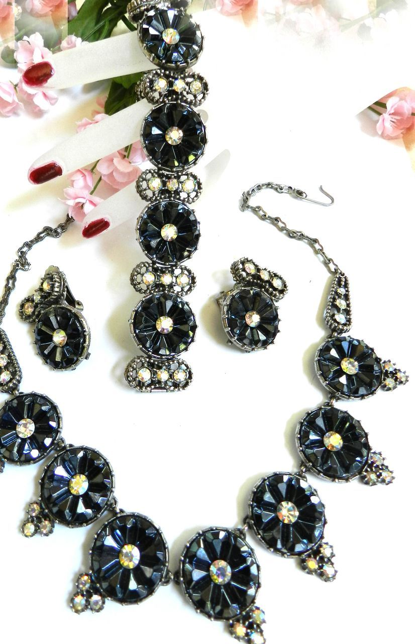 Massive Vintage Hematite Ultimate Obsession Necklace Bracelet Earrings