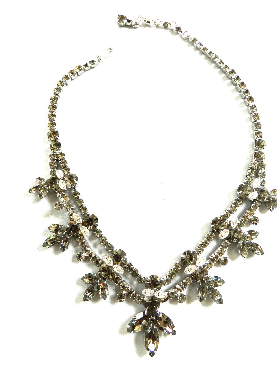 Exquisite Designer Smoke Colored Rhinestone 1950's Necklace
