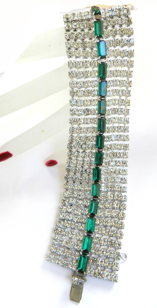 Vintage Big Bold Emerald Green Wide Designer Flat bracelet