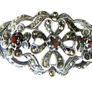 Exquisite Old Hollywood Sterling Silver and Garnet Vintage Bracelet