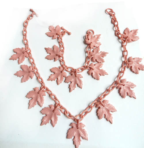 Early 1900's Pink Celluloid Necklace and Bracelet Demi