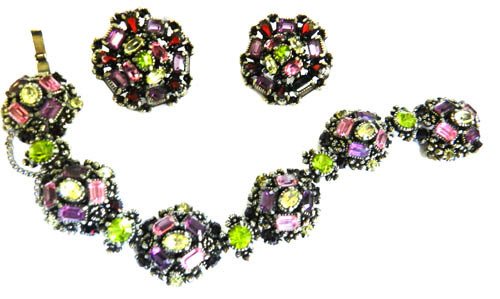 Glorious Hollycraft Amethyst Olivine1952 Bracelet Brooch earrings Demi