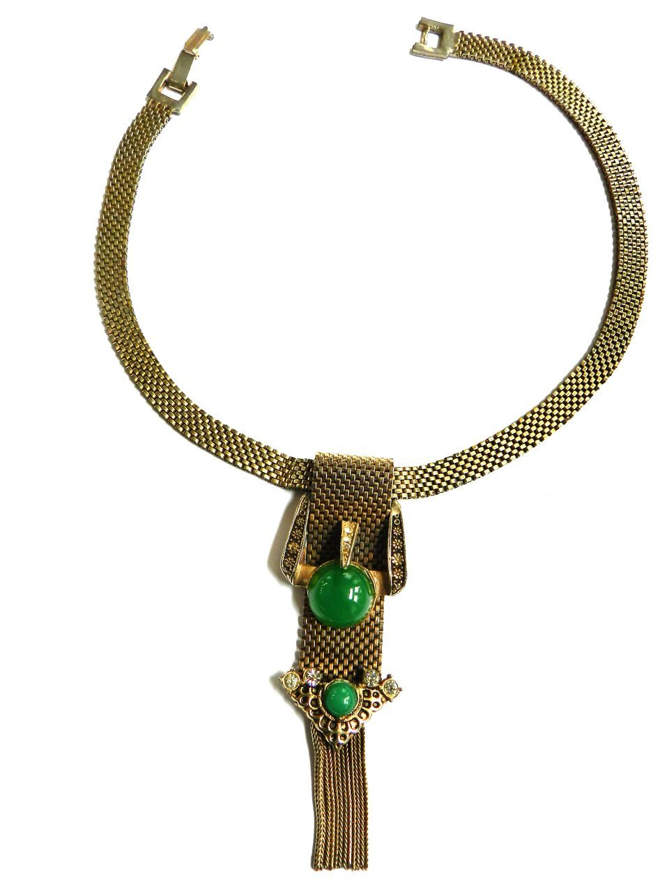 Vintage Victorian Style Slide Bracelet Drippy Necklace with Faux Jade Cabochons Drippy