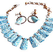 Mid Century 50's Copper and Teal Blue Enamel Blue Speckled Necklace and Earrings