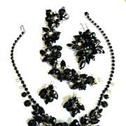 Black Tie Ready Vintage Juliana Jet Black Crystal Drippy Grand Parure