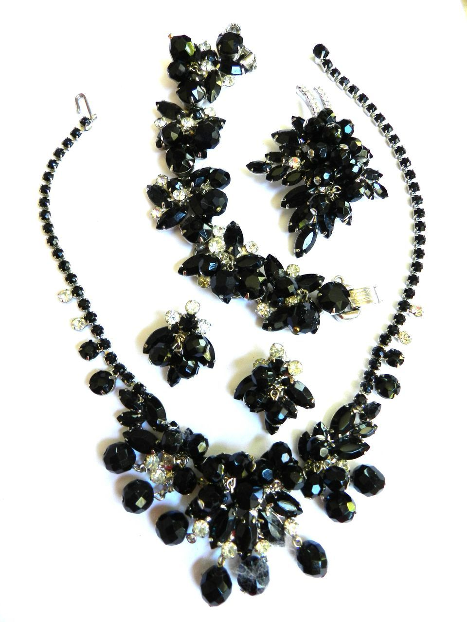 Black Tie Ready Vintage Juliana Jet Black Crystal Drippy Grand Parure