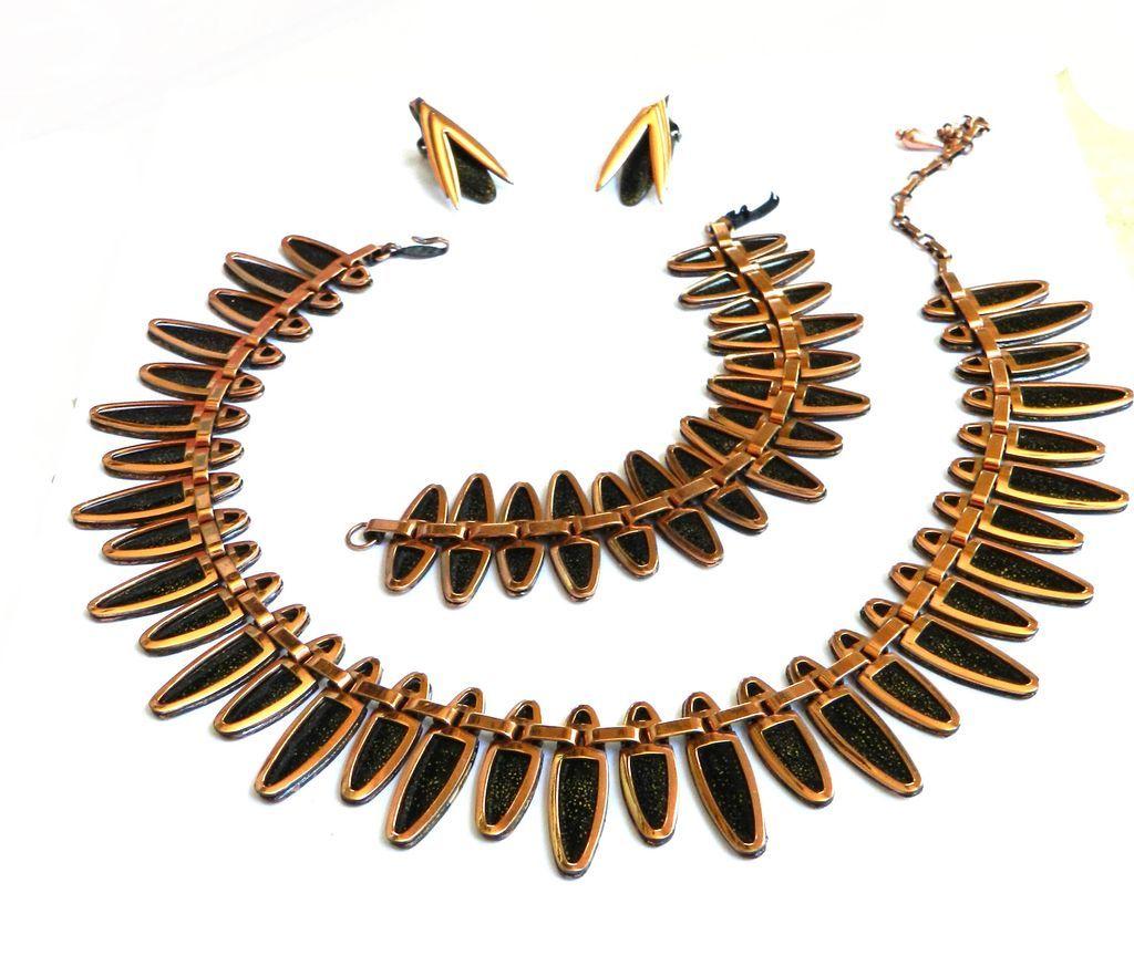 Vintage Matisse Nefertiti Copper and Enamel Bracelet Collar and Earrings