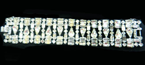 Razzle Dazzle Hollywood Bling  Huge Weiss Mixed Stones Vintage Bracelet and Earrings