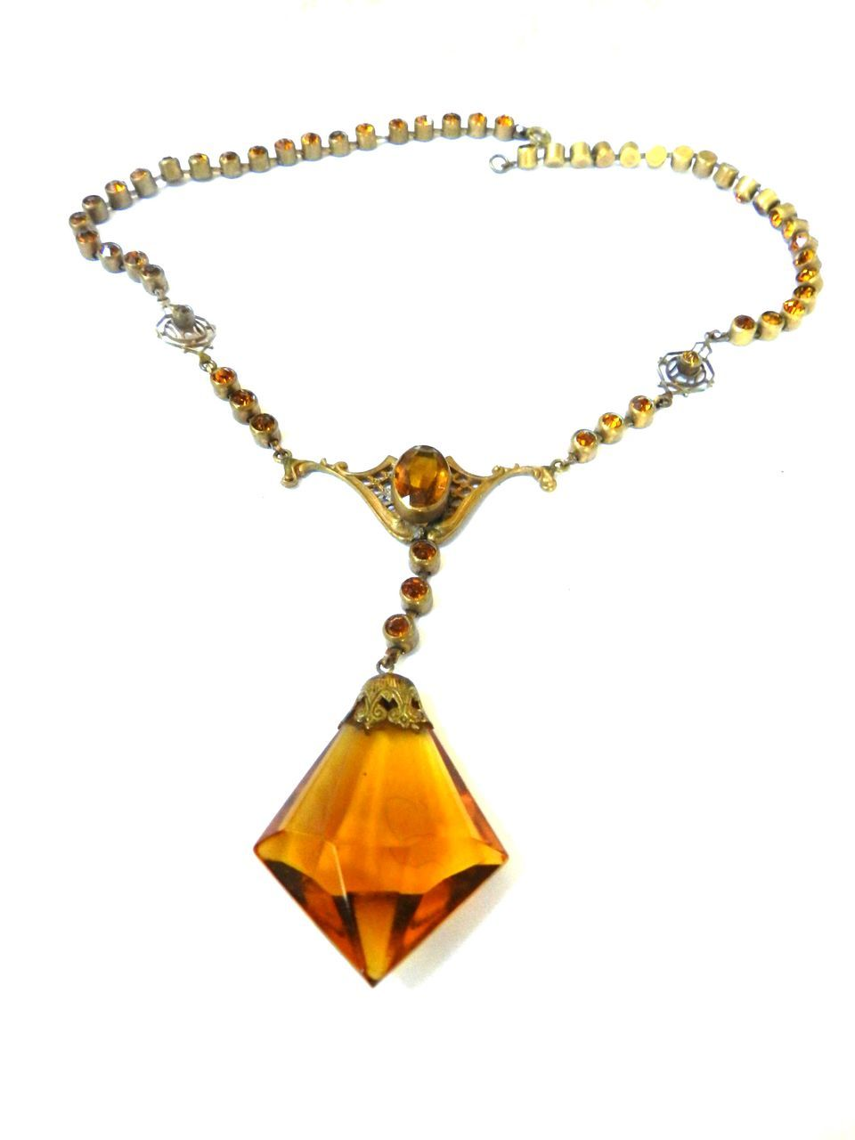 Gorgeous Early 1900s Czech Topaz Huge Stone Necklace