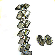 Return to Elegance Massive Schiaparelli Smoke and Aurora Borealis Bracelet and Earrings