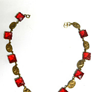 Early1900s Czech Red Open Back  Necklace