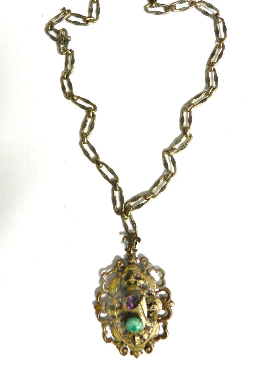 Vintage Victorian Revival Fabulous  Huge Pendant Necklace