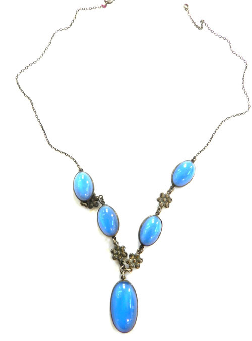Art Nouveau Vintage faux Moonstone Czech Necklace