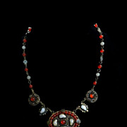 Spectacular Early 1900s Czech  Carved Shell Necklace