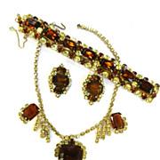 High End Designer Big Topaz and Jonquil Vintage Necklace Bracelet Earrings