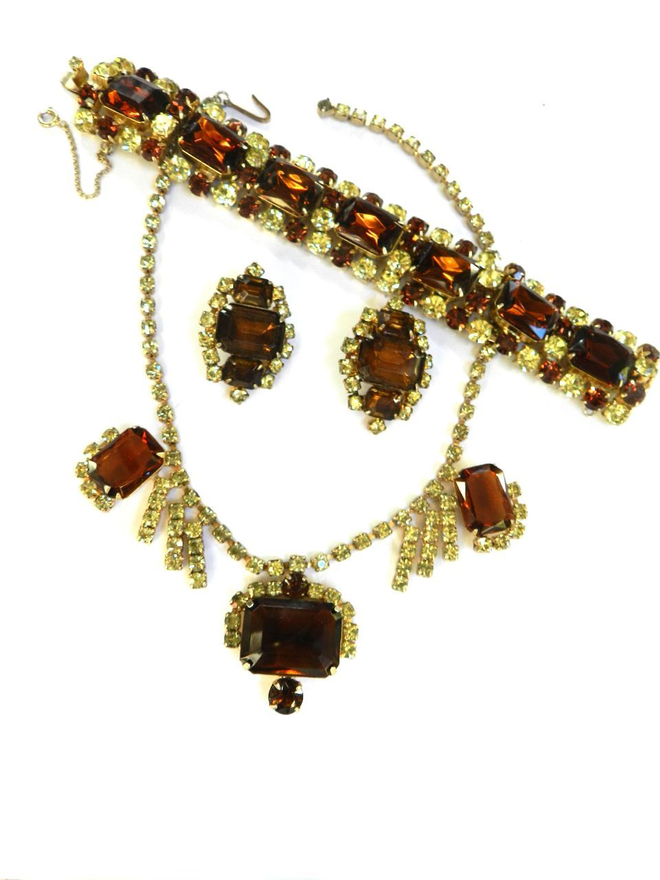 High End Designer Big Topaz and Jonquil Vintage Necklace Bracelet Earrings