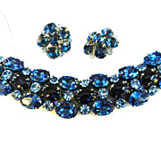 Huge Vintage 50s Sapphire Blue Rhinestone Bracelet and Earrings