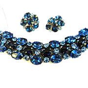 Huge Vintage 50s Sapphire Blue Rhinestone Bracelet and Earrings