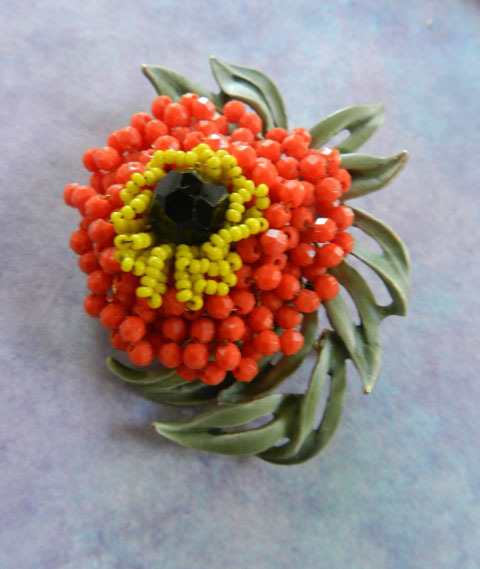 Spectacular Vendome Vintage Beaded Brooch