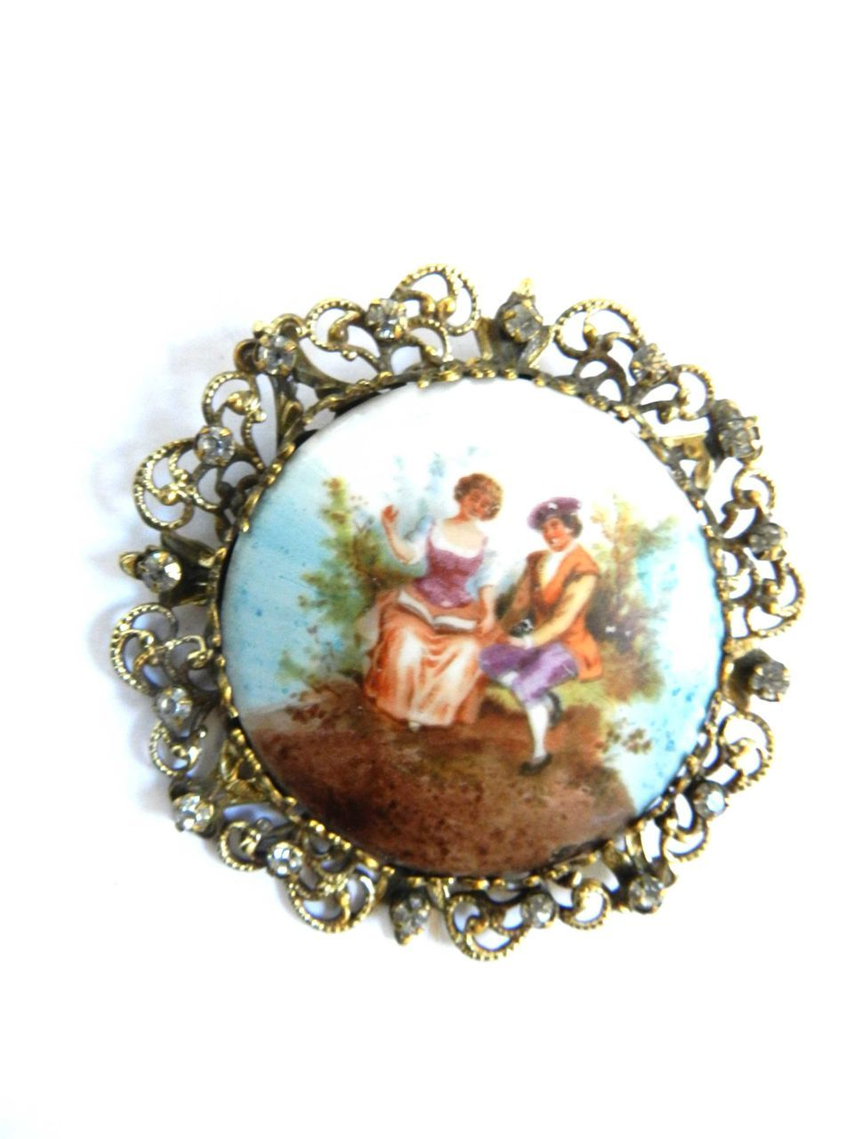 Joseff of Hollywood 1930s Huge Porcelain Hand Painted Cameo Brooch