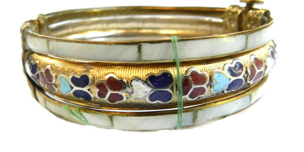 Vintage Enamel and Mother of Pearl 1950s or Older Clamper Bracelet