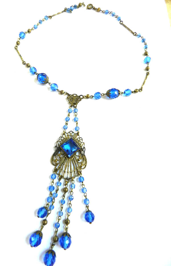 Fabulous Czech Early 1900s Drippy Sapphire Blue Crystal Necklace