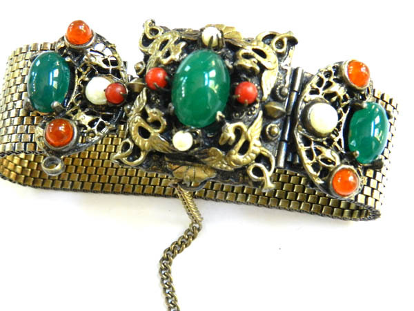 Mystical Griffin and Egg Stones Faux pearls Vintage Mesh Bracelet