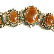 Vintage Carnelian Glass Cabochon Chunky Bracelet