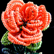 Flower Power  Blooming Beauty Fabulous Vendome Vintage Seed Bead Brooch