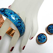 Vintage Matisse Renoir Enamel and Copper Speckled Bracelet and Earrings