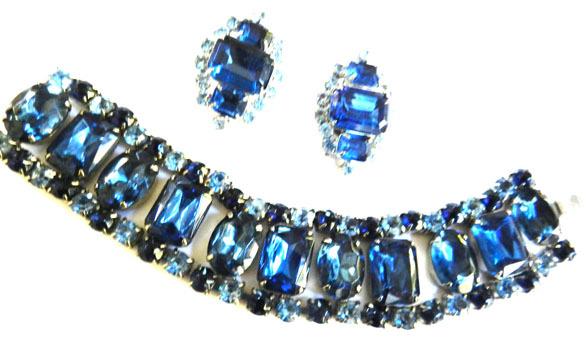 Vintage 50s Big Chunky Montana Colored Rhinestone Bracelet and Earrings