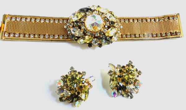 Spectacular Hobe Vintage massive Rhinestone Bracelet and Earrings